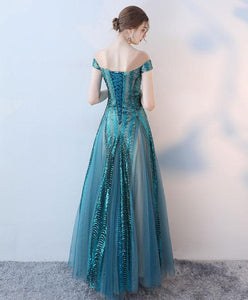 Unique Tulle Sequins Long Prom Dress, Evening Dress - DelaFur Wholesale