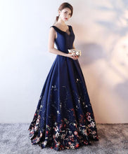 Load image into Gallery viewer, Dark Blue Floral Pattern Long Prom Dress, Blue Evening Dress - DelaFur Wholesale