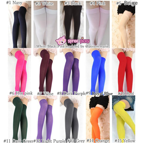 15 Colors Cosplay Basic Pure Color Thigh High Stocking SP130234