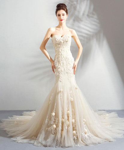 White Mermaid Lace Tulle Long Prom Dress, Formal Dress - DelaFur Wholesale