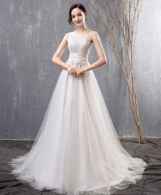 Load image into Gallery viewer, White Lace Tulle Long Prom Dress, Wedding Dress - DelaFur Wholesale