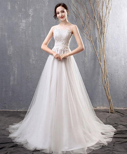 White Lace Tulle Long Prom Dress, Wedding Dress - DelaFur Wholesale
