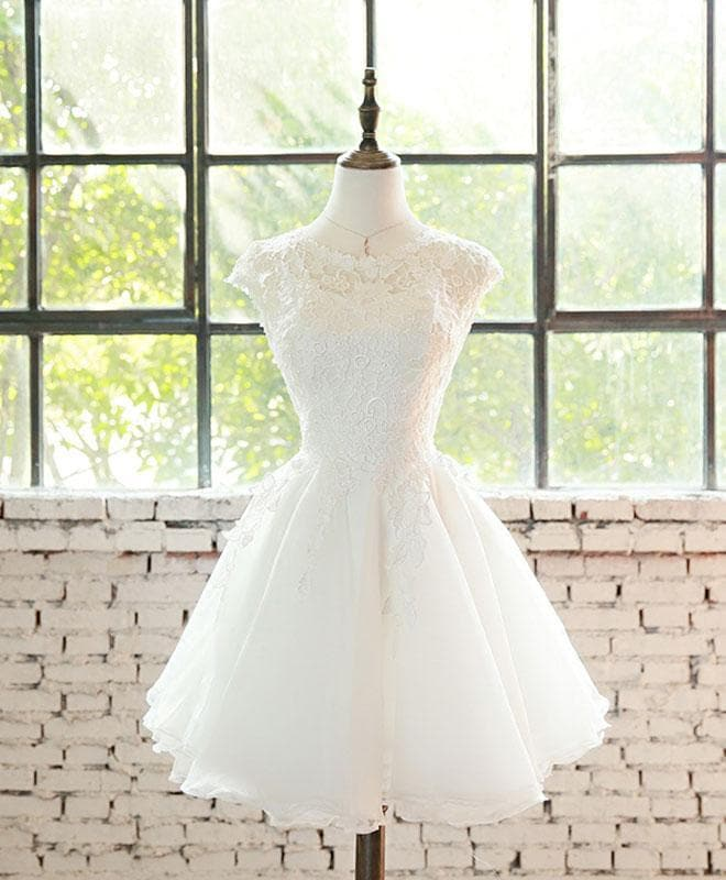White Lace Tulle Short Prom Dress, Homecoming Dress - DelaFur Wholesale