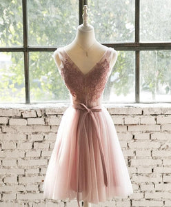 Pink Lace Tulle Short Prom Dress, Homecoming Dress - DelaFur Wholesale