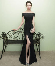 Load image into Gallery viewer, Black Mermaid Long Prom Dress, Black Evening Dress - DelaFur Wholesale