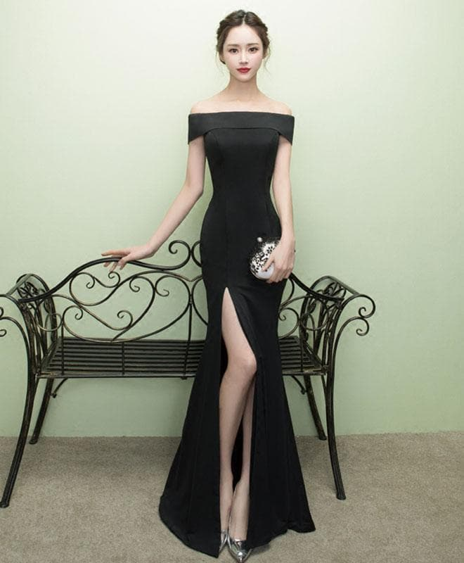 Black Mermaid Long Prom Dress, Black Evening Dress - DelaFur Wholesale