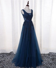 Load image into Gallery viewer, Dark Blue Lace Tulle Long Prom Dress, Lace Evening Dress - DelaFur Wholesale