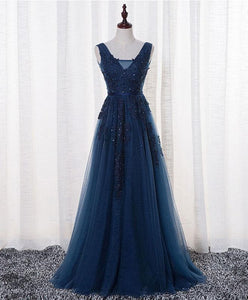 Dark Blue Lace Tulle Long Prom Dress, Lace Evening Dress SP15628 - SpreePicky FreeShipping