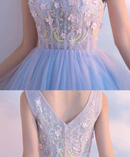 Load image into Gallery viewer, Cute Light Blue V Neck Tulle Short Prom Dress, Homecoming Dresses - DelaFur Wholesale