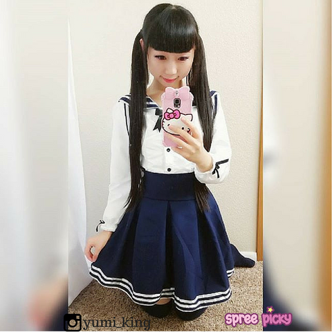 S-XL 3 colors Lolita Cosplay Sailor Uniform Long Sleeve Dress SP152518