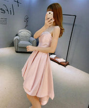 Load image into Gallery viewer, Stylish Pink Swetheart Neck Satin Hight Low Prom Dress, Homecoming Dress - DelaFur Wholesale