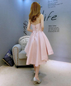 Stylish Pink Swetheart Neck Satin Hight Low Prom Dress, Homecoming Dress - DelaFur Wholesale