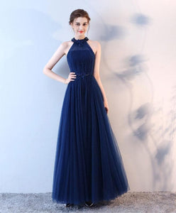 Blue Halter Tulle Long Prom Dress, Blue Evenin Gdress - DelaFur Wholesale