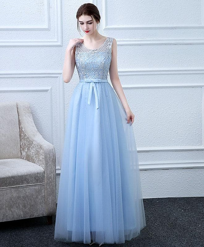 Sky Blue Tulle Lace Long Prom Dress, Lace Evening Dress - DelaFur Wholesale