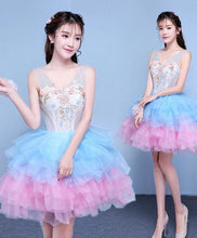 Load image into Gallery viewer, Cute V Neck Blue And Pink Short Prom Dress, Sweet 16 Dress - DelaFur Wholesale