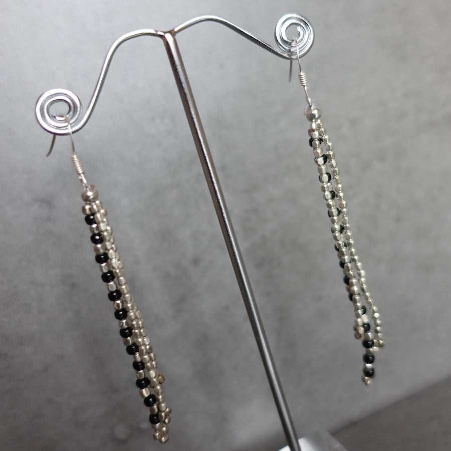 Three strand earrings - silver
