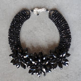 Crystal Flower necklace - jet black