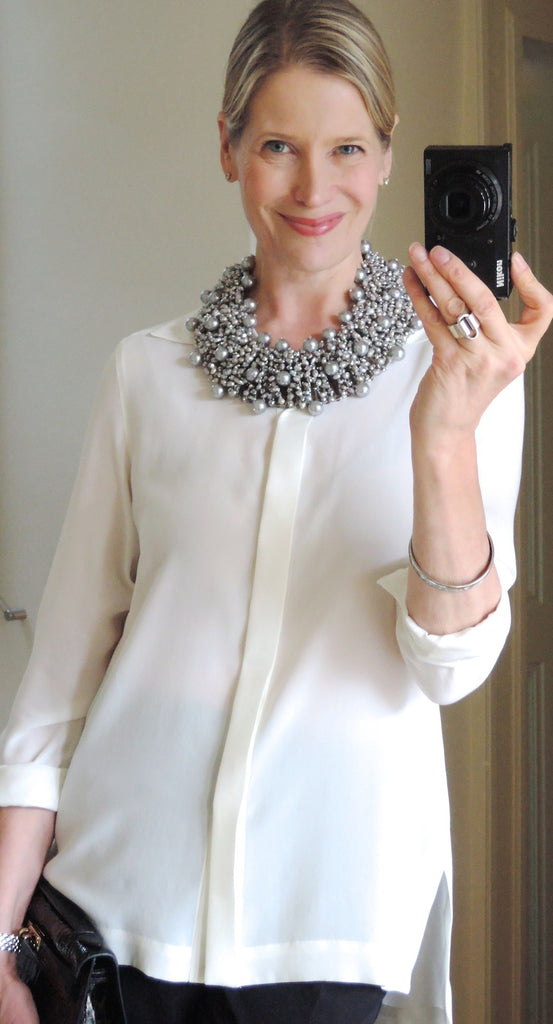 Pearl statement necklace in gris/argent - MaiTai Collection  - 1