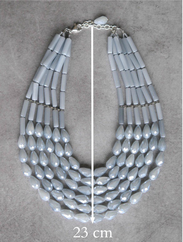 Crystal waterfall necklace - Dove Grey
