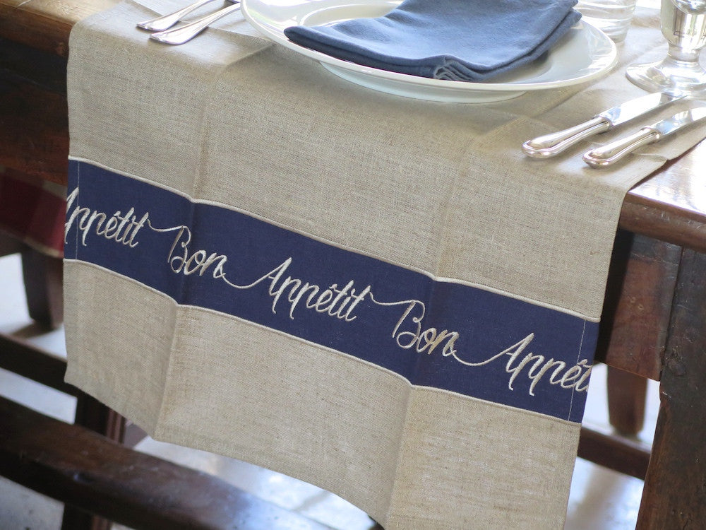 French table runner - embroidered linen
