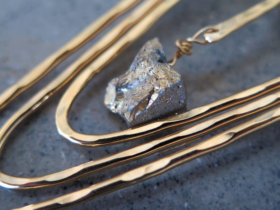 Gemstone Pendant Necklace - Gold/Pyrite
