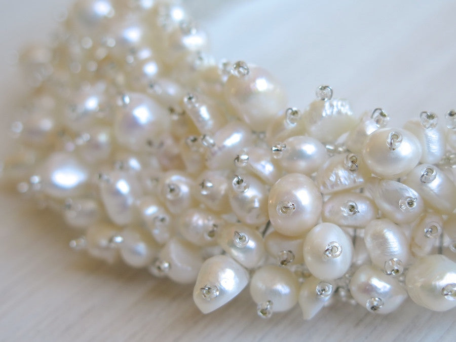 Pearl collar necklace - blanc/ivoire