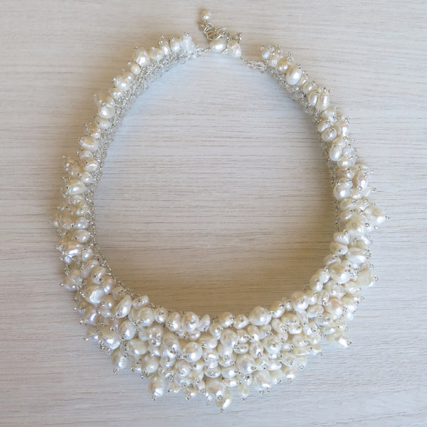 Pearl collar necklace and earrings - blanc/ivoire