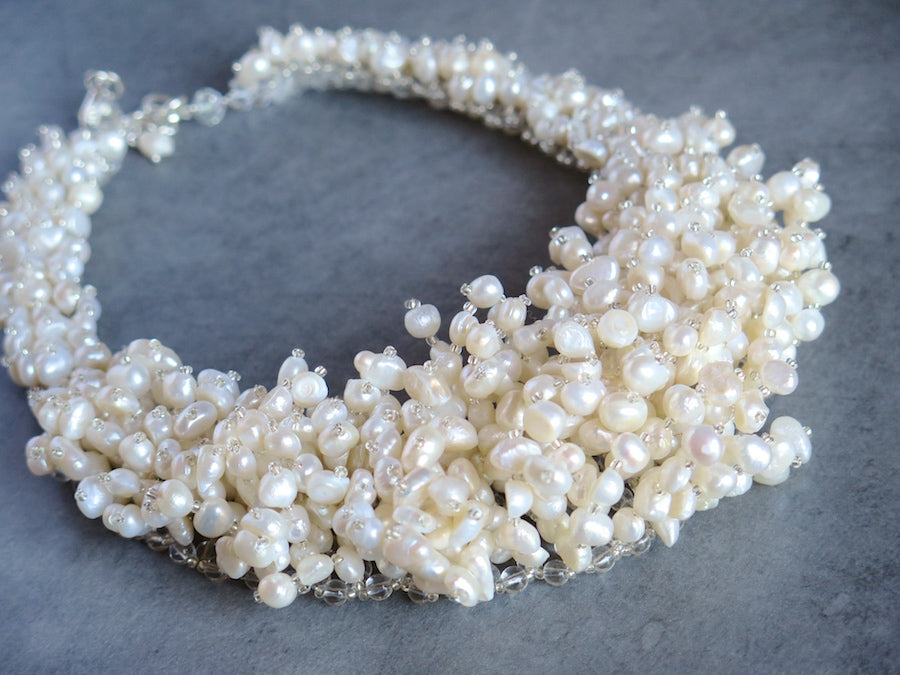 Cascading pearl necklace - Blanc/Ivoire