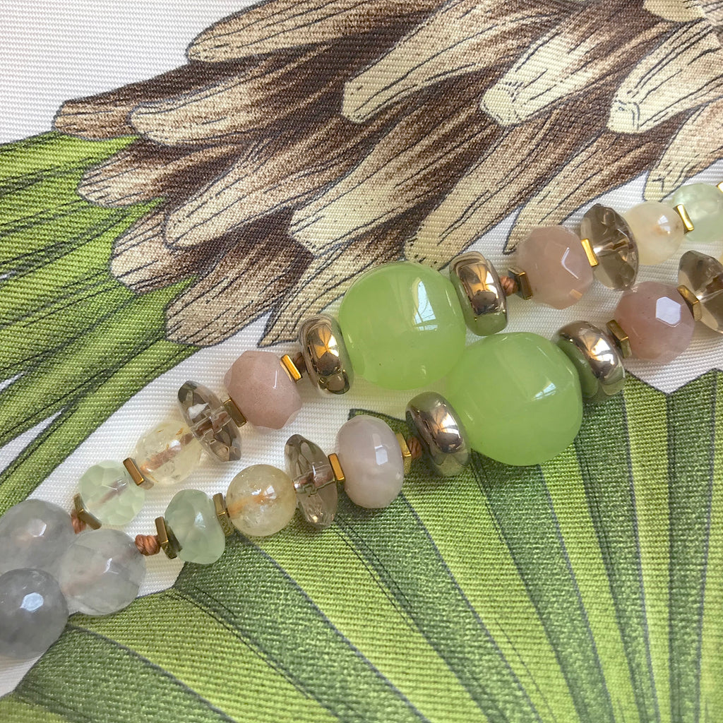 Long gemstone necklace - Tilleul/Jade/Grey Quartz