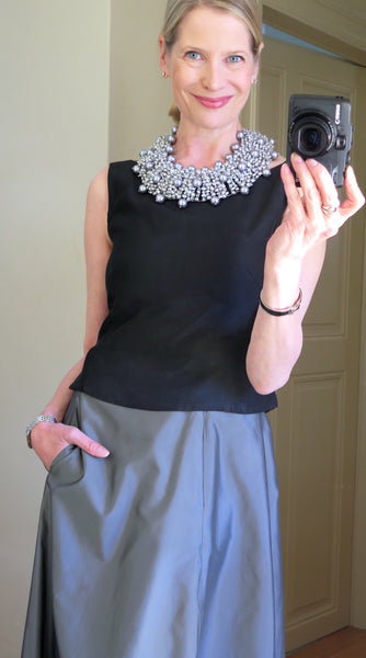 Pearl statement necklace in gris/argent