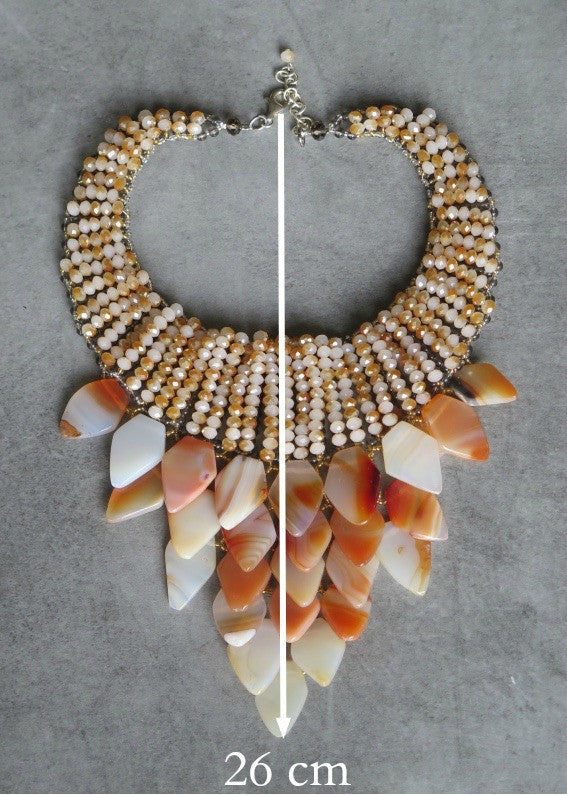 Gemstone waterfall necklace - Sienna/Ecru/Champagne