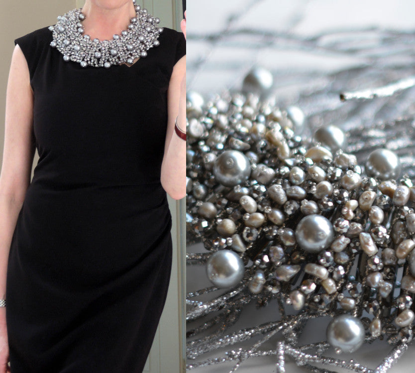 Pearl statement necklace in gris/argent - MaiTai Collection  - 4