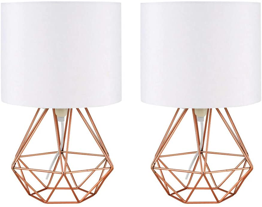 Modern Copper Caged Lamp, Set of 2