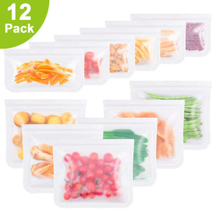 Reusable Silicone Food Storage Bags, Set of 12