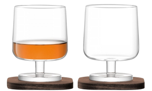City Bar Cognac Glass & Walnut Coaster, x2 - Wedding Gift Registry Nigeria