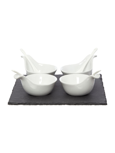 Linea Dip Bowls And Spoons, Set Of 4