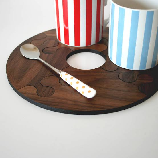 Round Wood Walnut Jigsaw Coasters and Trivet