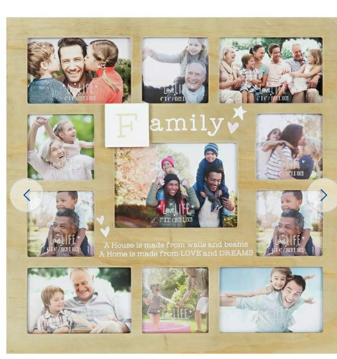 Family Multi Aperture Photo Frame, Natural Wood