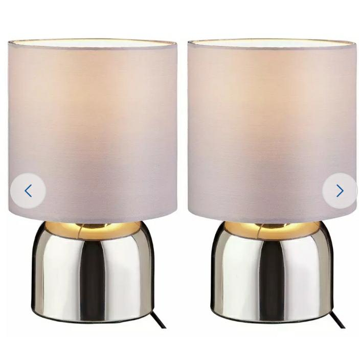 Touch Table Lamps, Flint Grey and Chrome - Set of 2