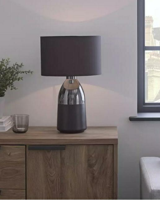 Pluto Touch Table Lamp, Pewter and Black