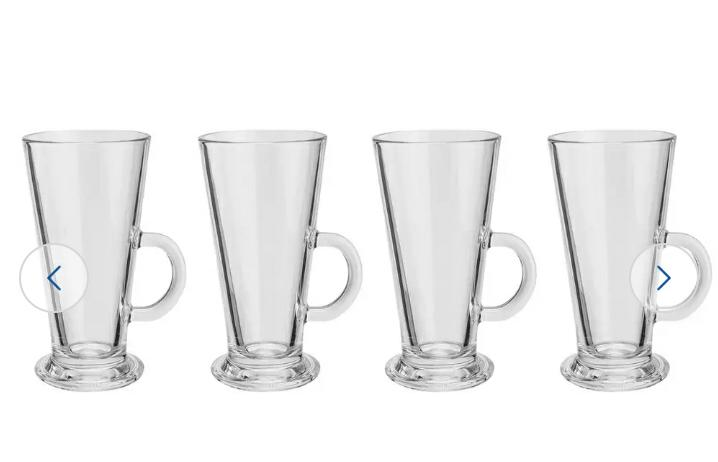 Glass Latte Mugs, Set of 4
