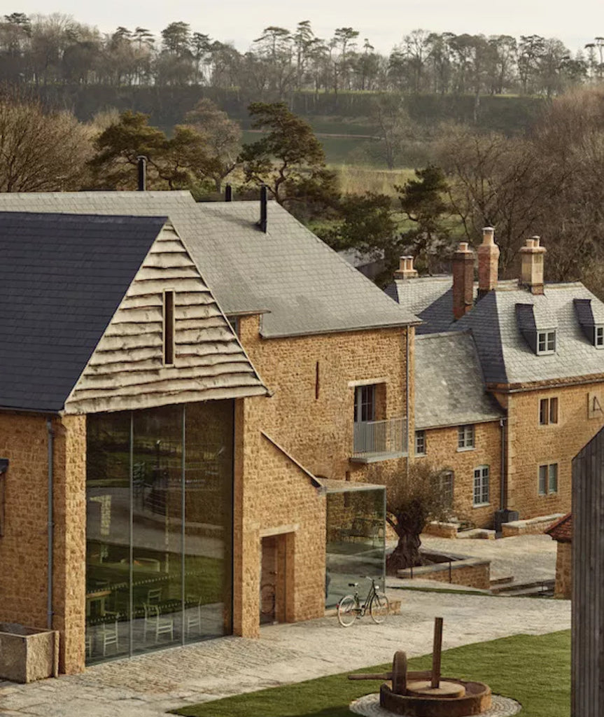 old farmhouse with modern extension in beautiful English countryside