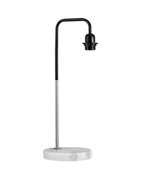 Black & Satin Nickel Table Lamp with White Marble Base