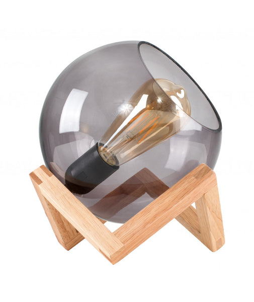 Glass Globe on a Wood Stand Table Lamp