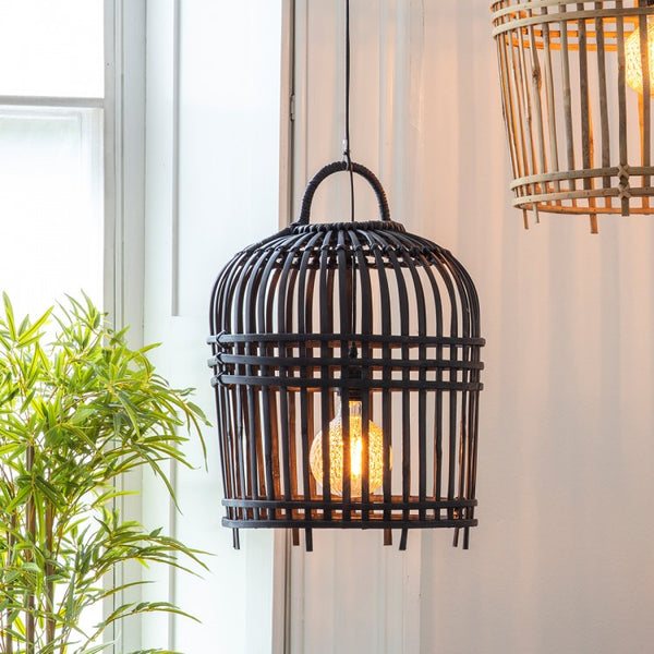 Rattan Pendant Shade in Charcoal