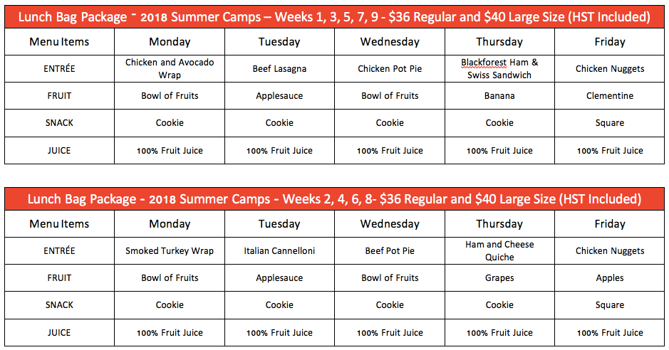 Summer Camp Lunch Menus