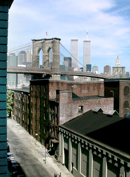 View out the Four Eyes office window of Brooklyn Bridge to Lower Manhattan - DUMBO Brooklyn