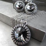 Swarovski Crystal Rivoli Crown Earrings - Midnight Black