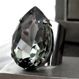 NIGHTFALL - Large Teardrop Black Diamond Swarovski Crystal Ring