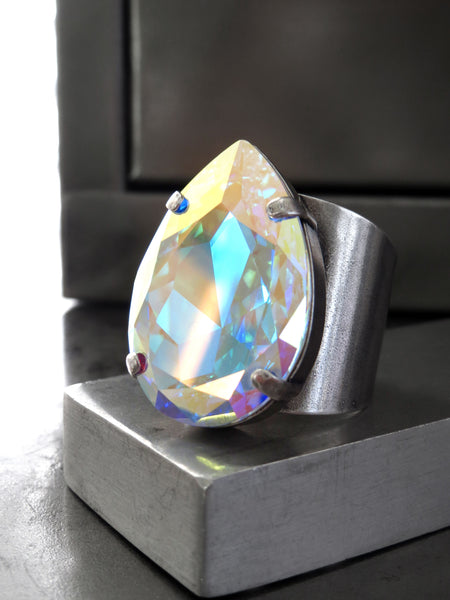 Large Teardrop Swarovski Crystal Cocktail Ring in Clear AB